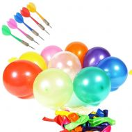 LovesTown Carnival Game Outdoor Game 500 Pcs 6 Assorted Color Latex Dart Balloons Water BalloonS 10 Pcs Plastic Darts Bundle for Outdoor Carnival Pop Party