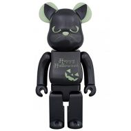Medicom Toy Bearbrick BE@RBRICK 400% 2016 Halloween Black Cat Green light figure