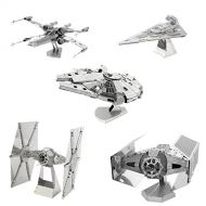 Metal Earth 3D Model Kits - Star Wars Set of 5 - Millennium Falcon - X-Wing - Imperial Star Destroyer - TIE Fighter - Darth Vaders TIE Fighter