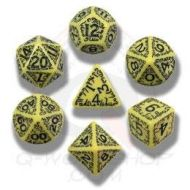 /Carved Elvish Dice Set (Yellow and Black) by Q Workshop