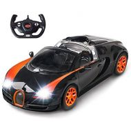 RASTAR Bugatti Toy Car, 114 Bugatti Remote Control Car, Bugatti Veyron 16.4 Grand Sport Vitesse RC Car - BlackOrange