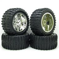 SD Tires 4x DIY 1/10 RC Rubber Tires Tyre Wheel Rim Monster Bigfoot Truck For Remote Control Toys Parts Silver
