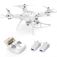 SYMA Syma X8PRO GPS FPV RC Drone with Adjustable Wide-Angle 720P HD Camera Live Video and Bonus Battery, White