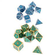 SunniMix 14x Polyhedral Alloy Dice Set Dies D4-D20 Toy 14mm/0.56inch for Craps Gambling Props