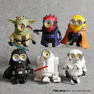 Thai 10cm 6pcslot Q Style Star War Minions Cosplay Darth Vader & Storm & Yoda Trooper Action Figure Model Toy