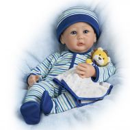 The Ashton-Drake Galleries Sherry Miller Weighted Poseable Lifelike Baby Boy Doll and Lion Lovie Blanket