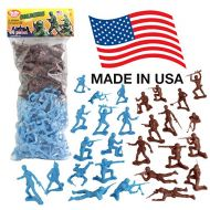 Tim Mee Toy TimMee Plastic Army Men - Cyan vs Rust 96pc Toy Soldier Figures - Made in USA