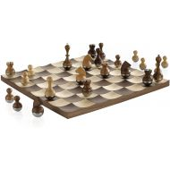 Umbra Buddy Chess Set For Kids & Adults  Modern Original Chessboard Game Made of Metal With Nickel & Titanium Finish  Measures 13 x 13 by 1 ½ Inch (33 x 33 x 3.8 cm) - Velvet Bot