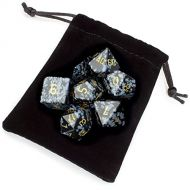 WD Premium Obsidian Stone Polyhedral Wiz Dice with Velvet Bag - Set of 7 Handmade Dice!