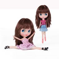 Yongqin Bjd Girl Doll Big Eyes 4 Color Changing,12 Inch Customized Dolls with Long Wigs Clothes Set,Compatible with Blythe ICY Dolly